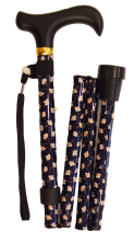 Käpp - hopfällbar, svart med ljusa blommor