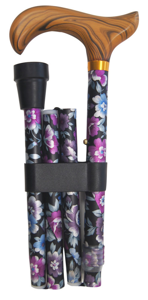 Hopfällbar käpp, svart med blommor