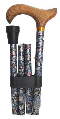 Hopfällbar käpp, svart med silvriga blommor