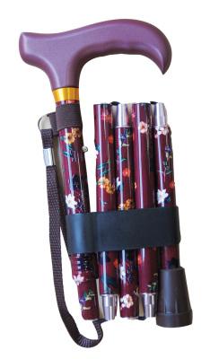 Hopfällbar käpp - vinröd med handledsband, 5-delad